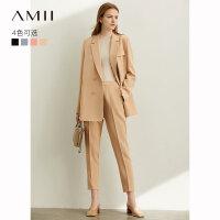 【折后价:189元再叠400-50元券】Amii职业时尚气质西装套装裙女2019秋装新款英伦风西服外套两件套