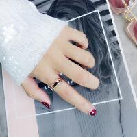 日韩潮人学生个性时间旋转戒指女食指戒网红情侣钛钢玫瑰金