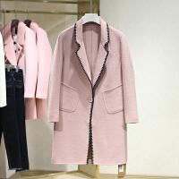 双面呢大衣女冬装新款 西装领中长款修身一粒扣刺绣毛呢外套