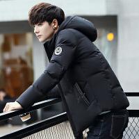 白鸭绒新款羽绒服男冬季短款加厚修身韩版潮流帅气连帽青年外套