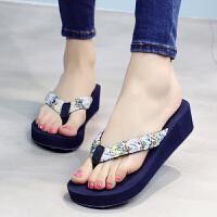 夏季人字拖女时尚夹脚坡跟外穿凉拖鞋沙滩鞋中跟海边厚底 35 标准码