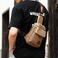 男士胸包韩版潮运动背包休闲帆布单肩包腰包男包学生斜挎包