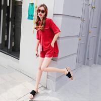 港味夏季套装女2018新款网红小心机短袖雪纺上衣洋气短裤两件套装 红色