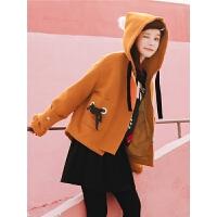 小个子呢子外套秋冬装女2019新款韩版宽松休闲学院风连帽毛呢大衣