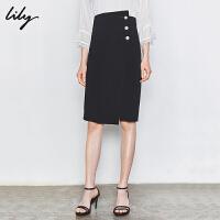 【3件2折 到手价100】Lily 女装不对称珍珠扣黑色修身直筒裙西装裙半身裙6943/6949