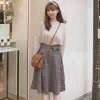 秋冬季新款原宿套装裙子女韩版学院风学生半身裙加毛衣两件套