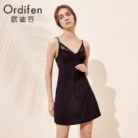 【2件3折到手价约98】欧迪芬女士睡裙薄款纯色吊带裙蕾丝露背短裙家居睡裙XH8604