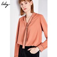 Lily2019冬新款女装商务通勤气质领口系带宽松长袖衬衫4936