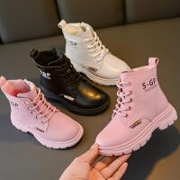 女童马丁靴新款冬季雪地短靴加绒儿童鞋靴子秋冬款
