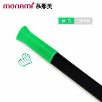 韩国monami/慕娜美04034-04三角杆水性笔 绿色 水性笔中性笔漫画勾线笔绘画涂鸦大中小学生用标注重点12色可
