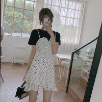韩版荷叶边收腰雪纺波点吊带背心裙连衣裙女夏季短袖T恤两件套装