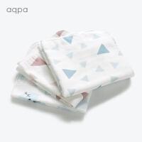 婴儿纱布口水巾宝宝小方巾毛巾初生儿洗脸巾手帕3条装