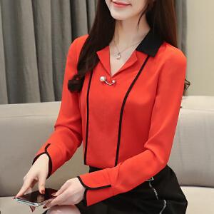 【下单立减120元/仅限今日】2019春装新款韩版V领通勤修身衬衫雪纺衫上衣女3006#