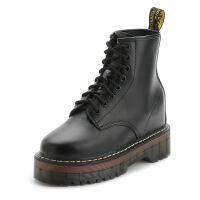 秋冬英伦风皮鞋系带厚底短靴隐形内增高真皮马丁靴加绒保暖女靴子