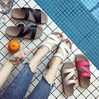 2018夏季新款一字拖厚底拖鞋女防滑沙滩鞋平底女士凉拖鞋外穿坡跟女鞋