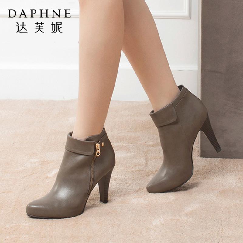 Daphne/达芙妮冬季正品 欧美时尚尖头细跟女及踝靴