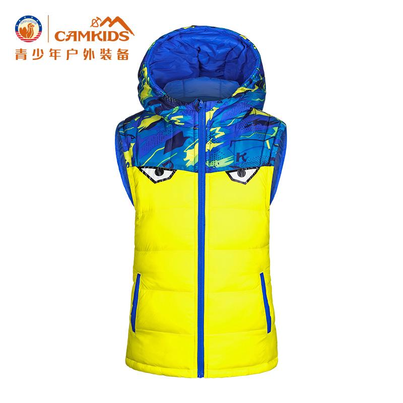 CAMKIDS垦牧男小童双面马甲 2018春季新款一衣两穿儿童带帽保暖