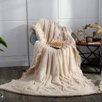 家纺冬季加厚保暖珊瑚绒毛毯沙发盖毯韩版女生公主风毯子法兰绒 米白色 遇见