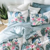 四件套棉棉1.8m床双人被套 简约清新床单被罩三件套床上用品 XM-2018热带风情