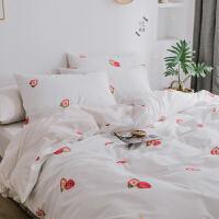 情侣全棉床上四件套纯棉简约双人床单被套学生宿舍单人三件套套件