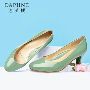 达芙妮/杜拉拉  粗跟圆头漆皮亮面浅口女单鞋OL百搭中跟鞋
