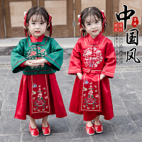 女童汉服中国风唐装新年装冬装复古装刺绣女宝宝拜年服套装