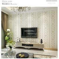 简约现代竖条纹卧室墙纸欧式无纺布客厅背景墙壁纸3D立体精压环保 米白色 刷胶 仅墙纸
