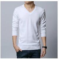 韩观男士青年纯色针织打底衫韩版修身大码加厚中年冬季V领毛衣