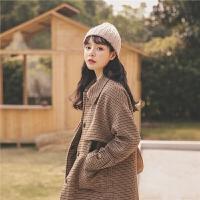 格子通勤毛呢大衣2019冬季新款女韩版复古流行中长款学生呢子外套
