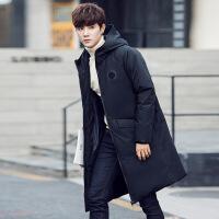 冬季新款男士羽绒服男韩版修身加厚中长款连帽外套白鸭绒羽绒风衣
