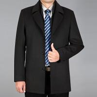 中年毛呢大衣男士秋冬毛呢子外套加厚爸爸冬装休闲中长款羊毛风衣 墨绿色 0/M
