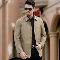 男装风衣短款春季中年翻领品牌男士风衣薄款商务外套休闲修身深蓝