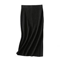 羊毛针织半身裙中长款过膝后开叉包臀一步裙弹力螺纹竖坑条毛线裙 均码