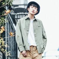 春季新款日系纯色工装潮流休闲长袖衬衫男青年百搭宽松衬衣男