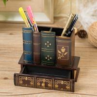 复古木质笔筒摆件书房办公室桌面装饰品摆设