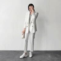 韩国2018春装新款时尚气质休闲条纹小西装外套小脚裤两件套装女潮