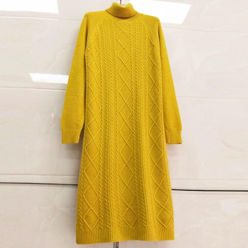 高领过膝长毛衣女秋冬款韩版套头针织打底衫宽松加厚中长款毛衣裙
