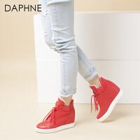 【领券下单减150元】Daphne/达芙妮冬季女靴 内增高坡跟女鞋系带高帮鞋