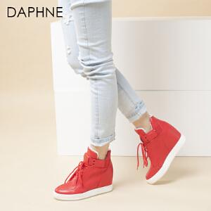Daphne/达芙妮冬季女靴 内增高坡跟女鞋系带高帮鞋
