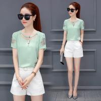雪纺衫女夏季短袖2018新款韩版百搭小衫超仙上衣甜美短款雪纺T恤