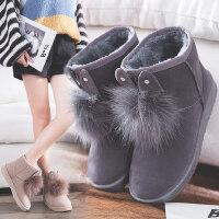 韩版雪地靴女短筒短靴平底学生棉鞋新款冬鞋保暖加绒百搭