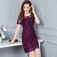 蕾丝绣花时尚修身连衣裙女夏季新款气质优雅大码女装裙子潮