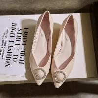 春秋单鞋简约真皮女鞋浅口坡跟低跟鞋职场百搭四季鞋