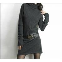 2017秋冬新款女士堆堆领套头毛衣喇叭袖中长款针织打底衫长裙外套