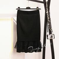秋季针织包臀裙女韩版荷叶边蕾丝拼接鱼尾裙半身裙包裙高腰一步裙 黑色 均码