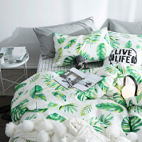家纺chic植物全棉床上用品床罩床笠四件套纯棉1.8m床单被套床品4件套 1.5m (被套200x230)