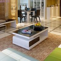 客厅简约茶几 白色烤漆钢化玻璃四抽屉可储物 +