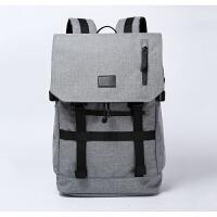 男士双肩包时尚潮流背包男装相机书包大容量钓鱼包休闲旅游旅行包 浅灰色