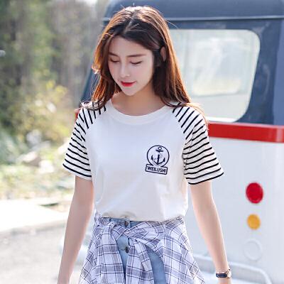 新品韩版百搭宽松圆领条纹拼接刺绣图案短袖T恤女装上衣