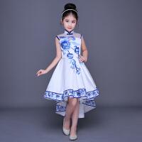 女童古筝演出服中大童唐装公主裙中国风童装连衣裙儿童旗袍礼服夏